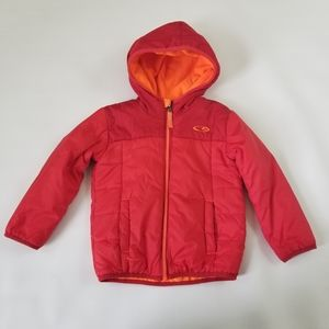 Champion C9 red orange hooded puffer boys jacket